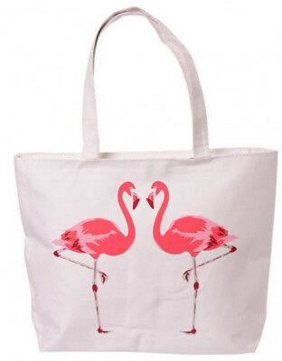 Flamingo Design Cotton Shopping Bag with Zip Re-usable Shopper Tote Pink NEW
