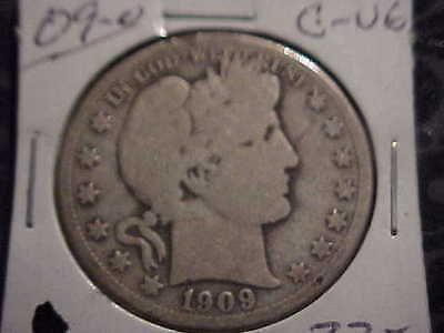 1909-O  G-VG  Barber Half Dollar   Y and part of L,T