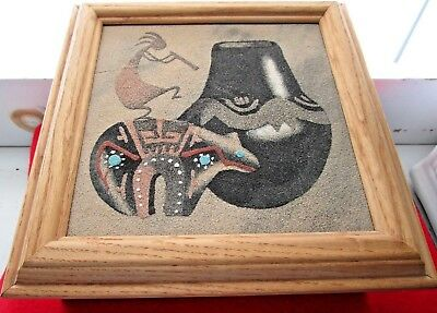 Authentic Navajo Indian Sand Painting Jewelry/trinket/box W/history Certificate