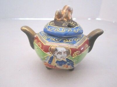 "TT japan ceramic salt sugar jar bowl. Takito. Moriage. w/ Spoon. mini 3.5"" x 3"""