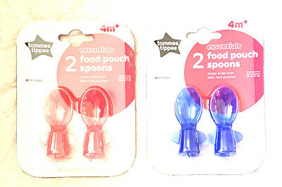 Tommee Tippee Essentials 2 Food Pouch Spoons 4 Mths + Bpa Free  New