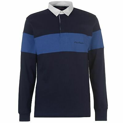 Pierre Cardin Mens Long Sleeve Rugby Top Polo Shirt Button Placket Regular Fit