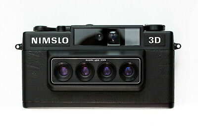 Nimslo 3D Quadra Lens 35mm Camera lenticular W/ Batteries & Box, Tested ELNC MOD