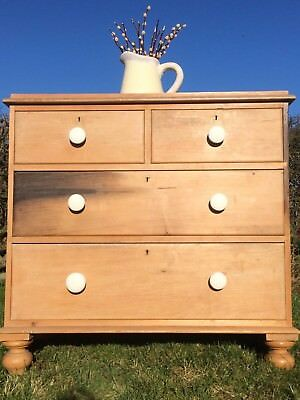 Antique Solid Pine Stripped Victorian 2 over 2 Chest of Drawers