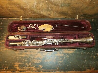 Vintage Antique Continental Colonial Silvered Brass Clarinet Serial 124452