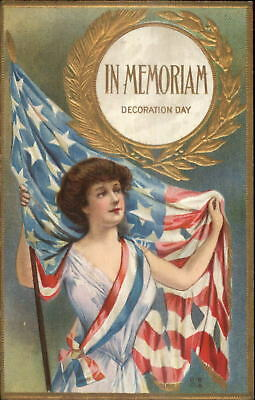 Beautiful Woman w/ Tattered American Flag Decoration Day c1910 Postcard
