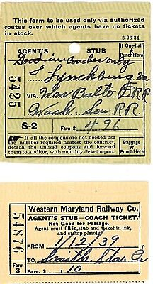 Orig  vintage,used,  Two Western Maryland Railway passenger tickets from 1939