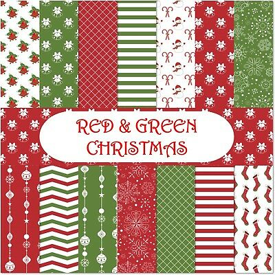 RED & GREEN CHRISTMAS SCRAPBOOK PAPER - 14 x A4 pages.