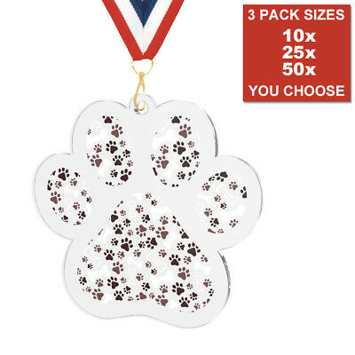 DOG SHOW PAW ACRYLIC MEDALS 50mm, PACK OF 10 & RIBBONS, 3 PACK SIZE FREE POSTAGE