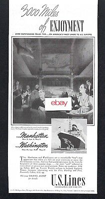 United States Lines 1939 3,000 Miles Of Enjoyment Ss Manhattan & Washington Ad