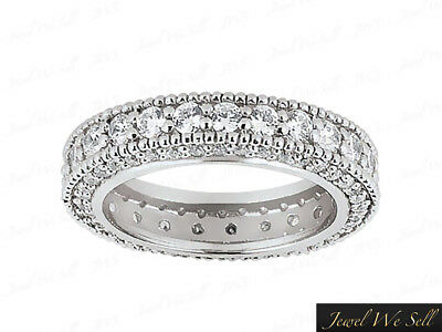 Natural 1 Ct Round Diamond Milgrain Eternity Band Ring w/ Accents 10k Gold GH I1
