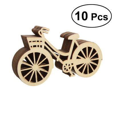 10PCS Wooden Bicycle Bike Cutout Veneers Slices DIY Crafting Ornament Party Gift