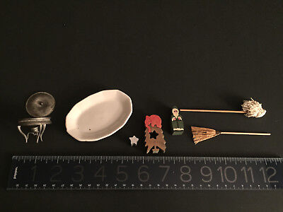 ANTIQUE/Vintage doll house minis: ERZGEBIRGE elephant/tree/star Santa,metal MORE