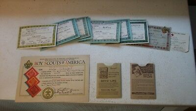 Boy Scout Items – 2nd Class Scout card, 10 Scout cards, 3 booklets & Certificate