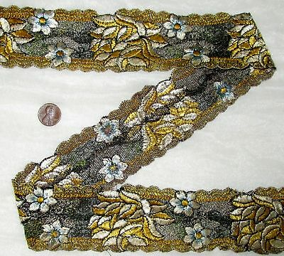Vintage Antique Border Sari Trim Lace RARE OLD  3 ft Q1722 Embroidered #ABHO4