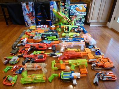 Nerf Huge Lot Vulcan Sledgefire Rayven Recon Clear Sonic Gun 340 pc Extra Clean