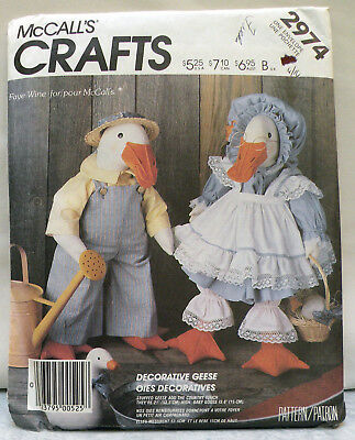 """Vintage McCall's 2974 21"""" Country Goose Doll & Clothes Pattern - Unused - Cute!"""