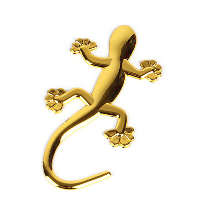 Gold 3D Gecko Lizard Chrome Badge Emblem Car Truck Vehicle Decal Sticker