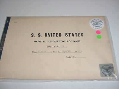 SS UNITED STATES LINES 1957  Logbook  / Voyage #118 /  Eastbound & Westbound