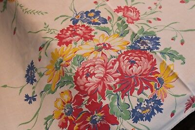 Vintage Cotton Kitchen Tablecloth Lots of Flowers 48x54