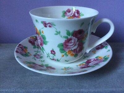 ROY KIRKHAM Bone China Chintz LARGE BREAKFAST CUP & SAUCER  Romantic Rose 2006