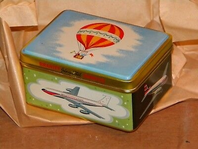 """Vtg. New Old Stock 1960s Braniff Airlines First Class Tin Gift Box """"One Tin Box"""""""