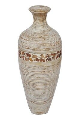 Heather Ann Creations Mika 24 in. Spun Bamboo Vase - Distressed White