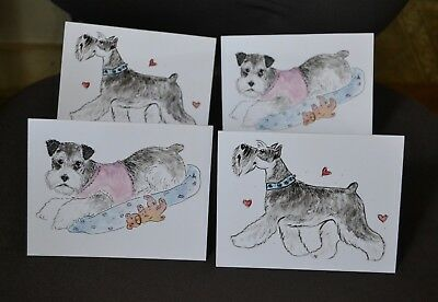 Schnauzer .Post cards made from my original watercolor.Set of 4 .LOOK
