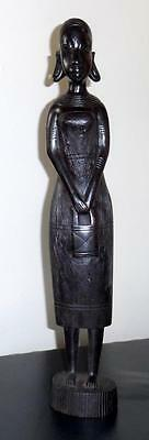 Vintage Wood Carved African Tribal Art Woman Statue Black Figural Sculpture