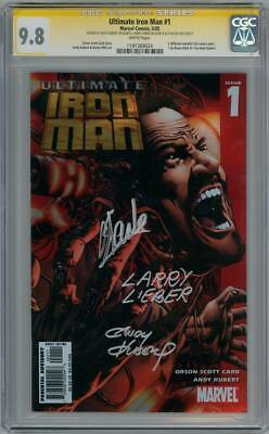 ULTIMATE IRON MAN #1 CGC 9.8 SIGNATURE SERIES SIGNED x3 STAN LEE LARRY LIEBER
