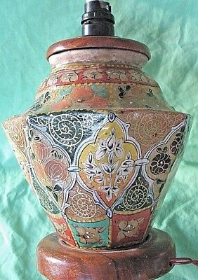 Old antique hand painted rawhide Asian Oriental octagonal side table lamp