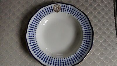 Jockey Club Blue And White Plate Marked Mappin And Webb To Reverse