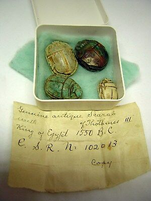 Antique Egyptian Scarab LOT of 4 Faience Bone Stone with Note - Estate Scarabs