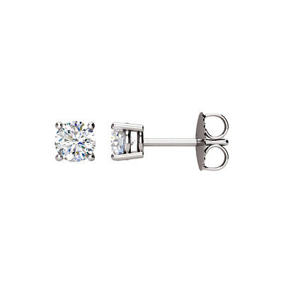 Round 3/4 Cttw Basket Style Diamond Stud Earrings in 14k White Gold