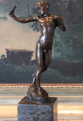 Male Nude Boy Slingshot Athlete Bronze Marble Statue Collectible Figurine Art