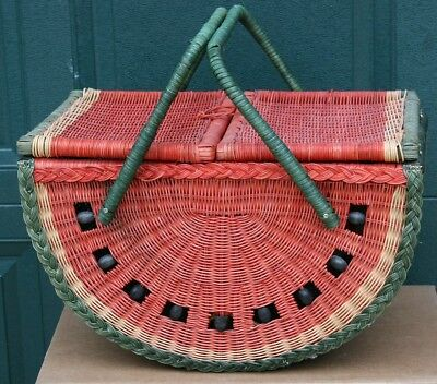 Vintage Watermelon Picnic Basket Wicker Lined Flip Lid Handles Large