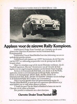 1978 Vauxhall Chevette Dealer Team Rally (Dutch, 1pg.) Advertisement (AAA.592)