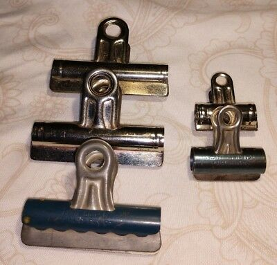 Vintage Metal Paper Binder Clips Lot of 5