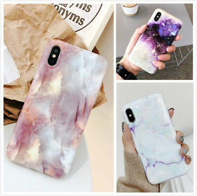 Reflective Pink Marble Pattern Shockproof Case Cover For iPhone Xs Max 8 7 Plus