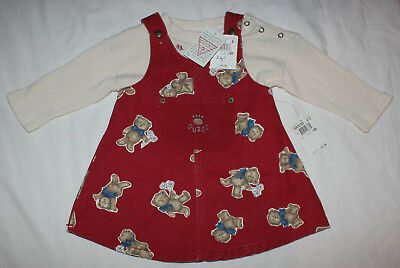 NEW Baby Guess Denim Overalls Dress Shirt Girls size 18 months VINTAGE Red Bear