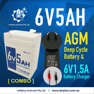NEW 6V 5AH SLA battery 6 volt High Rate & 6v 1.5A battery charger / Power supply