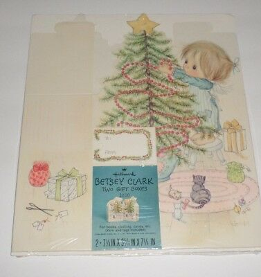 Betsey Clark Vintage Christmas Holiday Gift Boxes X2 NEW 1970's