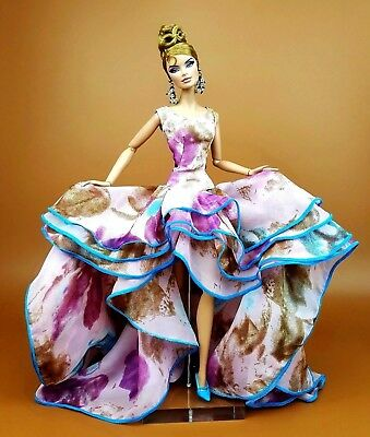 Pink Evening Chiffon Dress Outfit Gown Fits Silkstone Barbie Fashion Royalty FR