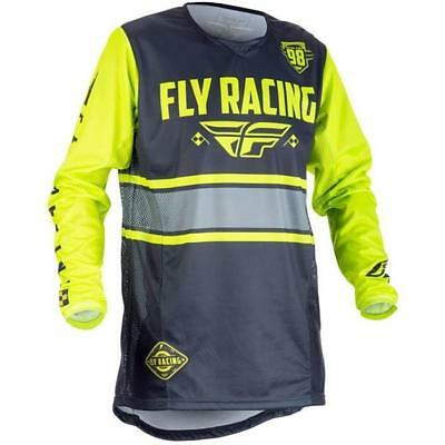 Fly Course Kinetic Era Motocross Maillot pour Enfants 2018 - Gris Jaune Néon En