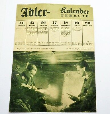 WW2 Period German February calendar
