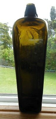 Victorian  Antique Dark olive green blown glass case Gin bottle 1880's  9""