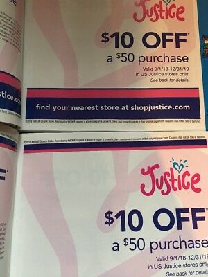 2 Justice $10 Off $50 Coupon Coupons In Store Only
