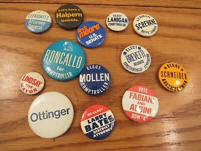 Lot 13 vintage New York City political pins Lindsay Mayor/Lefkowitz/Lanigan ++