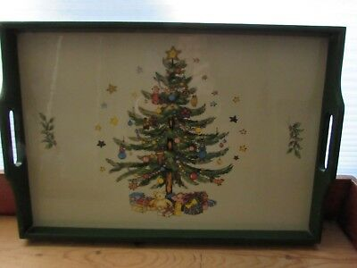 "Vintage Christmas Tree - Wooden Serving Tray With Handles 17"" x 12"""
