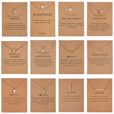 Fashion I Love You Pendant Necklace Gold Clavicle Chains Choker Card Jewellery